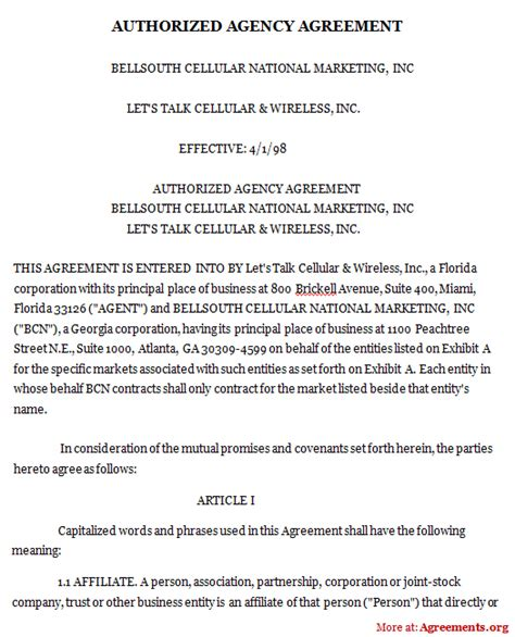 authorized agency agreement sample authorized agency
