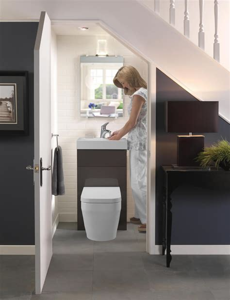 under the stairs bathroom ideas potty under the stairs squeezing a bathroom into tighter