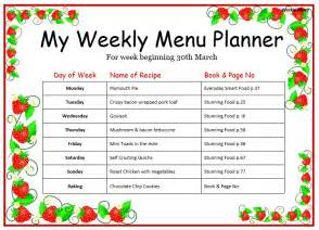 menu chart template weekly menu template for home format template