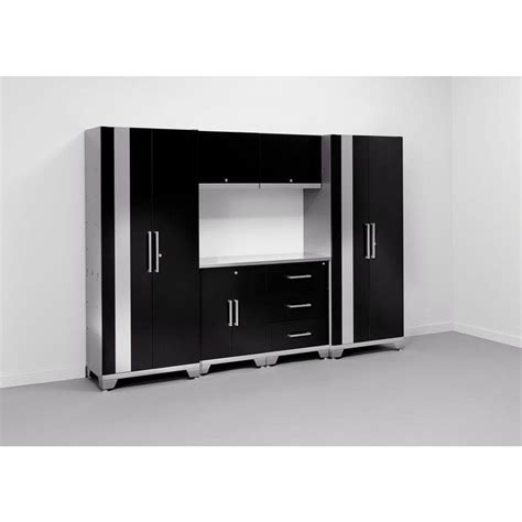 Garage Cabinets Black Newage Products Performance 75 In H X 108 In W X 18 In
