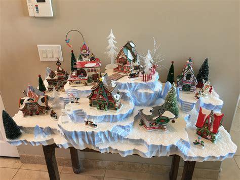 miniature mountain village platform pole display for 8 to 10 buildings showcase displays
