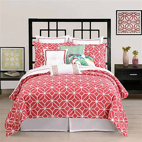 bed bath and beyond duvet covers buy trina turk 174 trellis full queen duvet cover in coral
