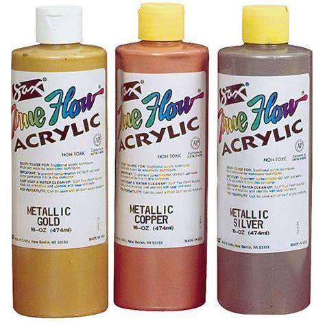sax true flow acrylic paint 1 pint assorted metallic colors set of 3 walmart