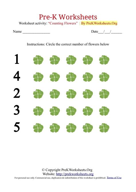 Free Printable Worksheets For Pre K by Pre K Counting Worksheets With Flowers Pre K Worksheets Org