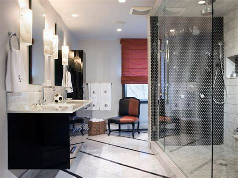 modern white bathroom ideas black and white bathroom designs hgtv