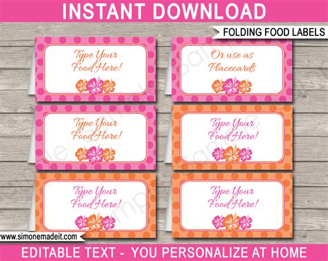 Hawaiian Luau Party Food Labels Place Cards Hawaiian Luau Theme Card Label Template