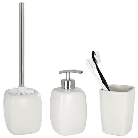 wenko faro ceramic bathroom accessories set white at
