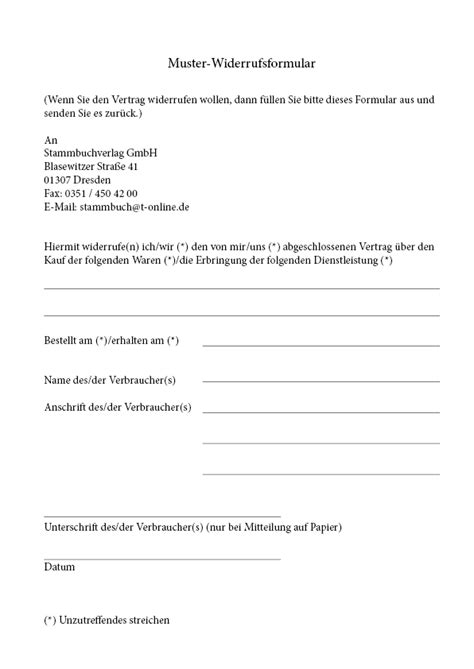 Mahnung Widerrufen Muster Widerrufsbelehrung Muster Widerrufsformular Stammbuchverlag