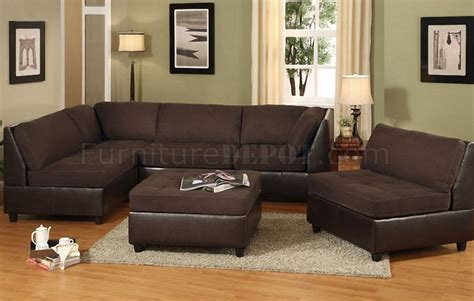 Chocolate Brown Sectional Sofas Chocolate Brown 4pc Sectional Sofa W Faux Leather Base