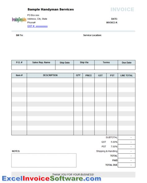 printable handyman invoice handyman invoice template for excel invoice software