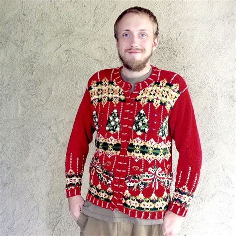 knitting pattern ugly christmas sweater textured trees red chunky knit tacky ugly christmas