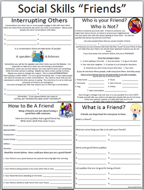 Free Social Skills Worksheets by Empowered By Them Social Skills Friends