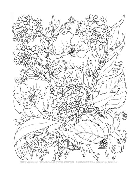 detailed coloring pages for adults flowers adult coloring a tangle of flowers set of 8 by emerlyearts
