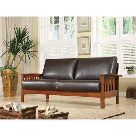 mission oak faux leather sofa brown walmart