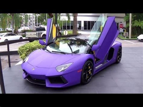 lamborghini aventador matte purple supercar start up and