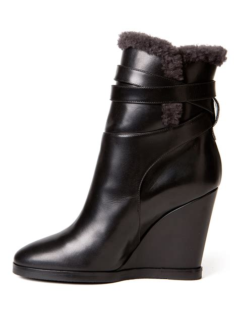 fendi boots for fendi shearling leather wedge boots in black lyst