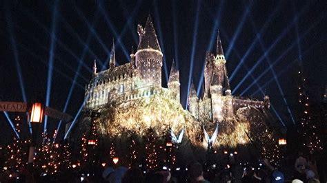 harry potter hollywood light show nighttime lights at hogwarts castle harry potter