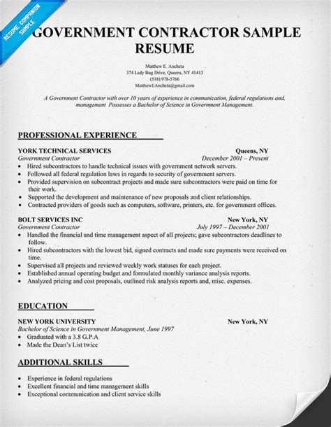 Government Contracting Officer Cover Letter by Contractors Resume Ditrio Professional Government Contracting Officer Templates To The Best