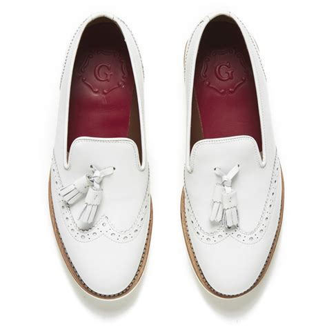 white tassel loafers grenson s leather tassel loafers white free