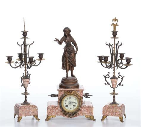 orologi da camino antichi trittico da camino composto da orologio e candelabri a