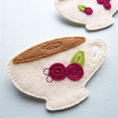 Handmade Felt Brooches - handmade felt teacup brooch by be darcey
