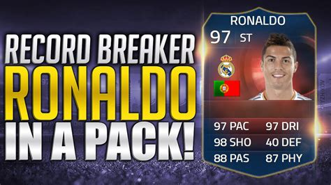 reset online record fifa 15 fifa 15 record breaker ronaldo in a pack fifa 15 pack