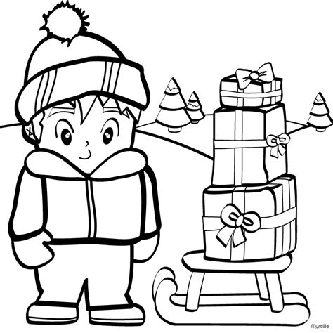 boy christmas coloring page christmas gift coloring pages boy collecting christmas