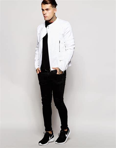 Jaket Denim White asos denim biker jacket in white for lyst