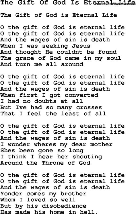 gift song negro spiritual song lyrics for the gift of god is