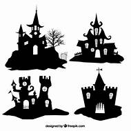 Halloween Haunted House Silhouette Template
