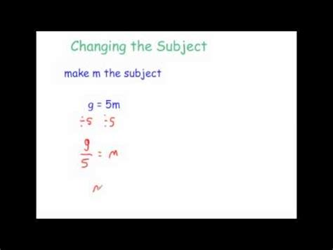 changing the subject – video 7 | corbettmaths