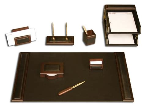 Top Desk Accessories Dacasso Walnut And Black Leather Desk Set 10 Home Decor