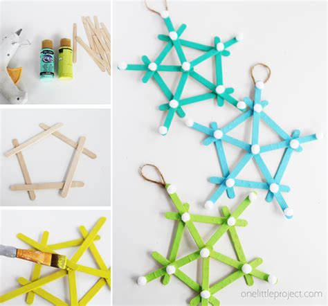 diy popsicle stick snowflakes   project