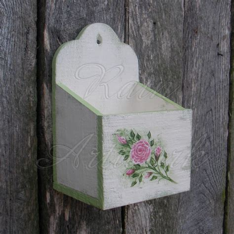 shabby chic green paint primitive wall box white cottage chic roses shabby green paint