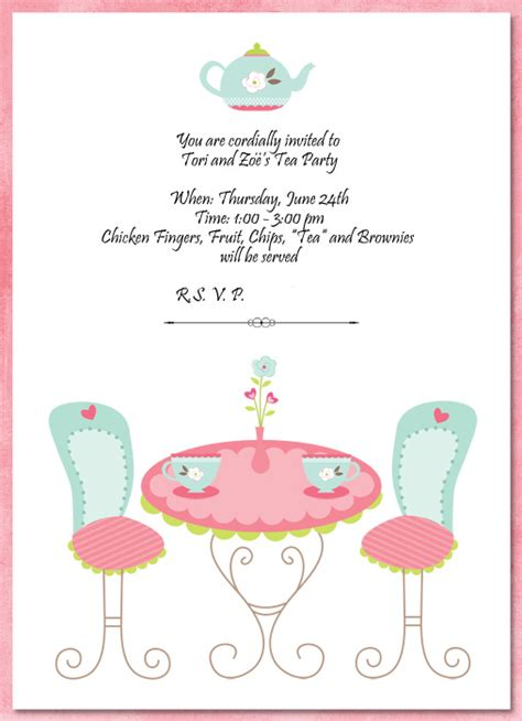 invitation template tea party http webdesign14 com