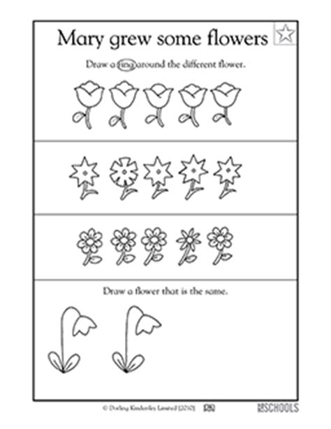 flowers printable worksheets preschool math worksheets which flower is different