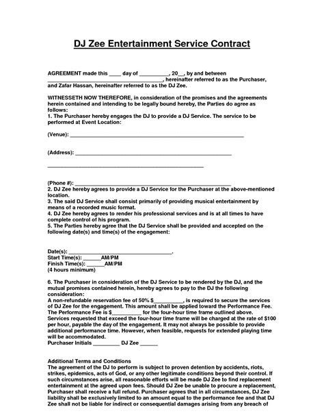 Mobile Dj Contract Template entertainment contract agreement images d j contracts