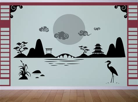 japanese wall sticker japanese asian landscape wall decal sticker
