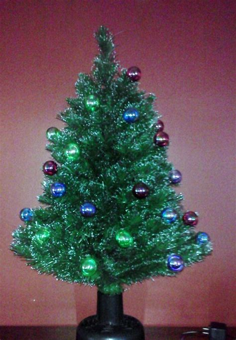 table top fiber optic tree tabletop tree vintage rotating by fingerlakesfinds