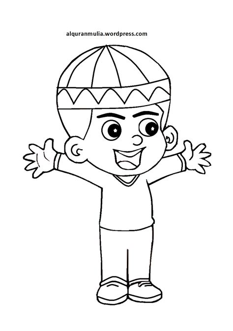 kumpulan kartun anak muslim hitam putih design kartun