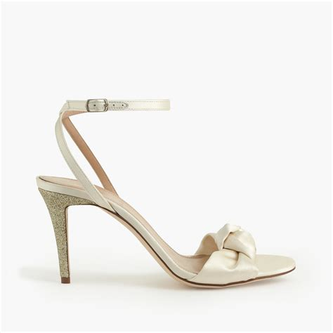 white bow sandals lyst j crew glitter bow high heel sandals in white