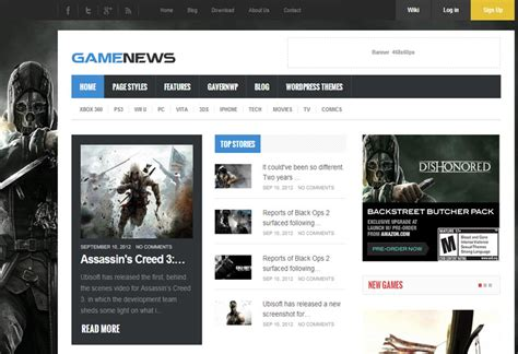 portal news manufacturing services unlimited hosting game news responsive game portal wp theme gavickpro