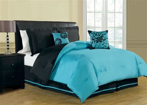 aqua and black bedding 6 piece queen haper reversible comforter set turquoise