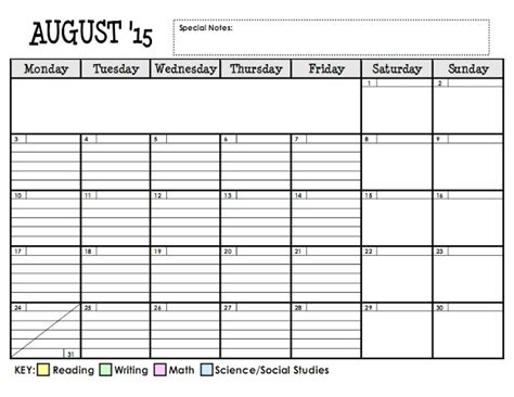 Lesson Plan Series The Planning Calendar Teaching Maddeness Lesson Plan Schedule Template