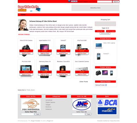 template toko online 3 kolom template toko online jual beli merah dengan shopping cart