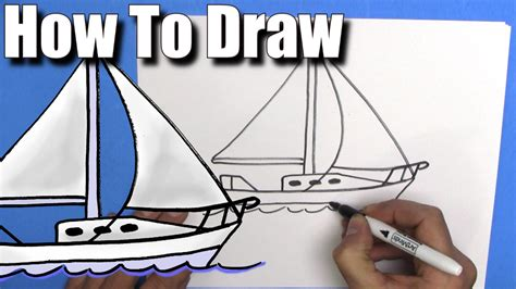 sailboat easy how to draw a sailboat step by step easy youtube