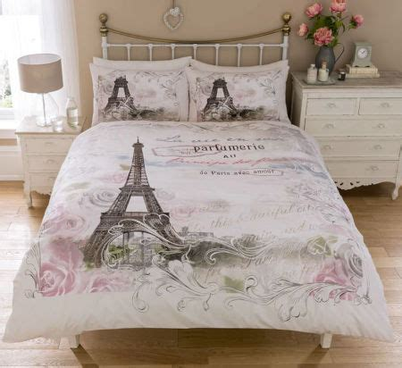 vintage paris bedding twin full queen duvet cover set eiffel tower pink grey