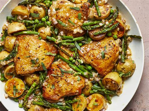 skillet chicken thighs with spring vegetables and shallot