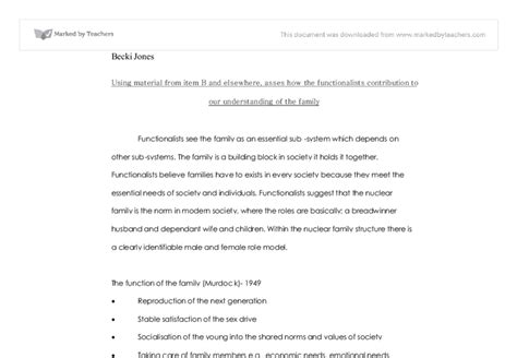 Functionalism And The Family Essay by The Functionalist View Of The Family Essay Design Bild