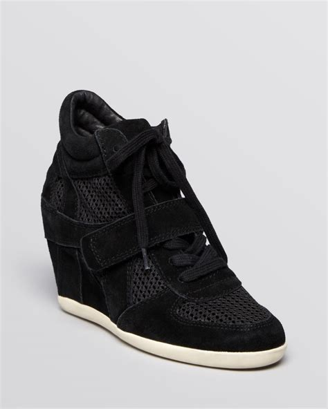 lace up wedge sneakers ash lace up high top wedge sneakers bowie mesh in black lyst